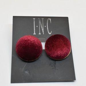 INC Gold Tone Velvet Button Stud Earrings